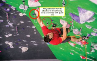 U-Bolts attached to climbing wall in climbing gym_rmcindustry.com.